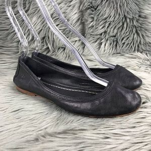 FRYE Carson Ballet Solid Black Leather Flats Shoes